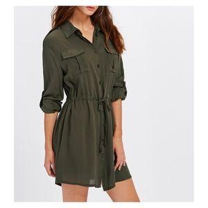 1a44eb0cdd8 MBM Unlimited Dresses - Army Green Drawstring Button Down Shirt Dress